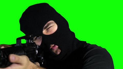 Man with Pistol Gun Action Closeup Greenscreen 75 Stock Video Footage