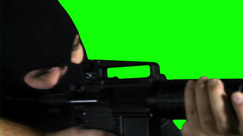 Man  With   Pistol   Gun   Action   Closeup   Greenscreen  75 stock footage