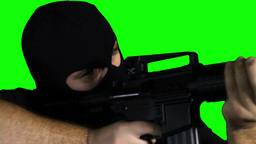 Man with Pistol Gun Action Closeup Greenscreen 75 Stock Video Footage