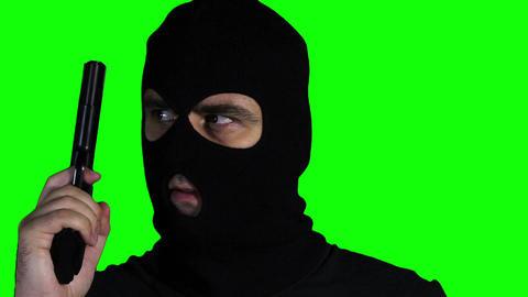 Man with Pistol Gun Watching Closeup Greenscreen 6 Stock Video Footage