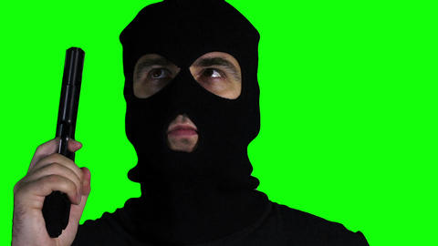 Man with Pistol Gun Watching Closeup Greenscreen 6 Stock Video Footage