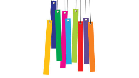 set of different color hanging tags animation After Effects Template