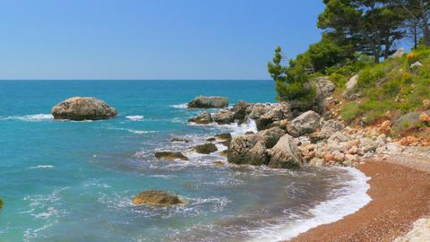 Seashore in Montenegro, waves of the sea Footage