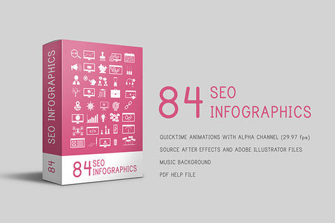 84 SEO Infographics (Animated Icons) After Effectsテンプレート