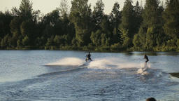 woman water skiing on a lake Footage