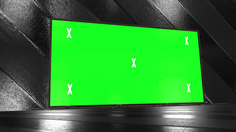 Retro, futuristic stage and blank, green screen billboard for advertisement, message. Chroma key, Animation