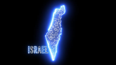 Creative Israel neon electric map. Shiny glowing outline of Israel country with text of ISRAEL Animation