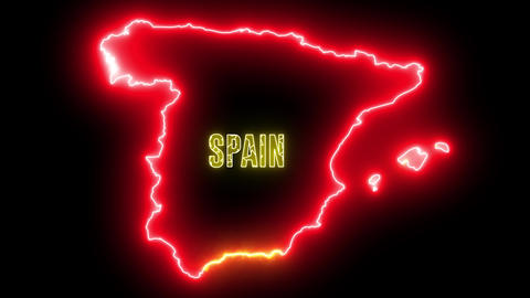 Creative neon map of Spain. Glowing shiny outline of Spanish country with text of SPAIN Animation