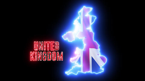 Creative neon map of United Kingdom continent. Shiny glowing outline of Great Britain with text of Animation