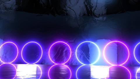 Abstract creative stage with neon circles. Glowing led light shiny spheres, futuristic and surreal Animation