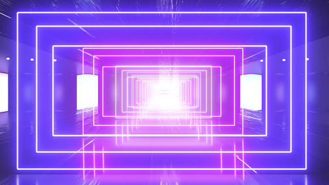 Abstract creative neon square floor. Led and colorful lights, room or portal background Animation