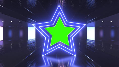 Abstract creative neon, led light tunnel and neon star shapes with green screen, chroma key Animation