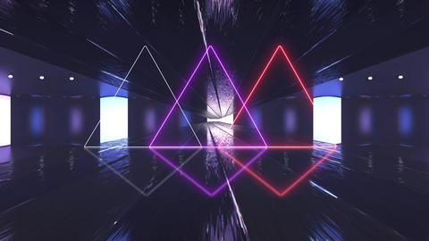 Abstract creative tunnel with neon triangle. Electronic, future tunnel with cyber ultraviolet light Animation