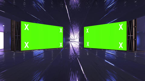 Retro, futuristic stage and two blank, green screen billboard for advertisement, message. Animation
