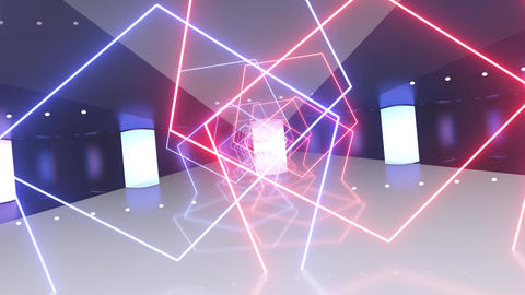 Creative abstract futuristic tunnel with neon pentagons. Camera moving behind pentagons, technology Animation