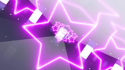Metal, purple and blue tunnel with neon shape of star. Technology, future and fashion concept with Animation