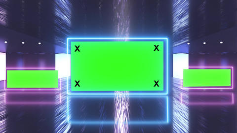 Abstract creative futuristic stage and multi billboard, border with green screen alpha channel Animation