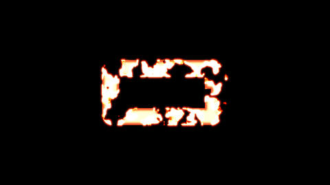 Symbol battery empty burns out of transparency, then burns again. Alpha channel Premultiplied - Animation
