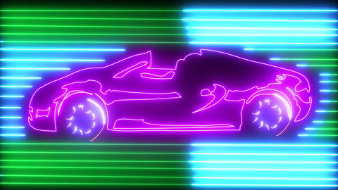 Noen speedy car on road with neon light. Travel, business and transportation concept, neon outline Animation