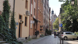 Gdansk city, Poland. View at the street in the old town Live Action