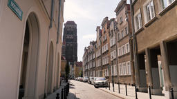 Gdansk city, Poland. View at the street in the old town Stock Video Footage