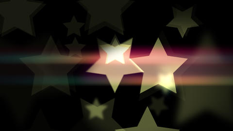Film bokeh with retro stars shaped on the black Animation