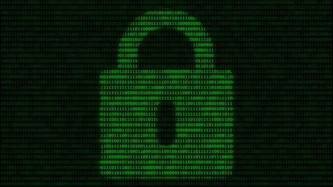 Padlock symbol at binary code background Animation