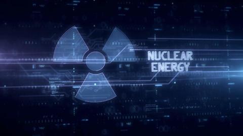 Nuclear energy symbol hologram Animation