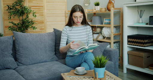 Smart young lady in glasses reading book sitting on comfortable sofa in flat Footage
