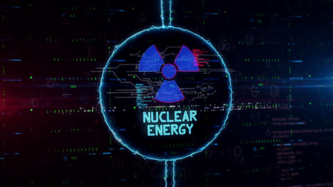 Nuclear energy symbol hologram in electric circle Animation