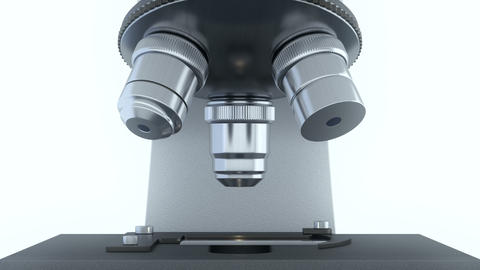 Laboratory microscope in bright white laboratory rotating its metal lenses Videos animados