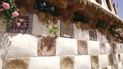 Park Guell architecture in Barcelona city Live Action