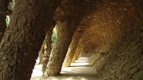 Architecture detail at Park Guell in Barcelona city Live Action
