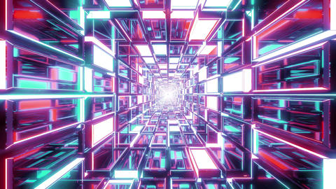 abstract glass tunnel with glowing colors background wallpaper 3d illustration Animation