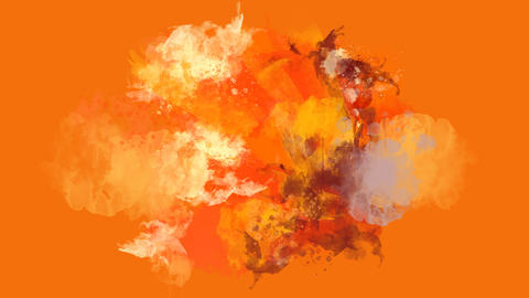 Orange, red and brown watercolor blot appears on the alpha channel Animation