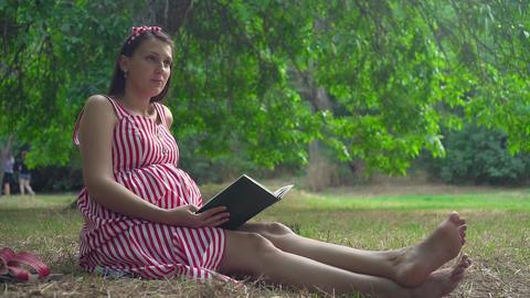 A pregnant girl sitting on the grass in the park. A girl with long hair in a Live Action