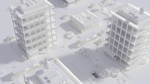 CGI City Life Miniature Outdoors with Housing Human and Active Logistics Footage
