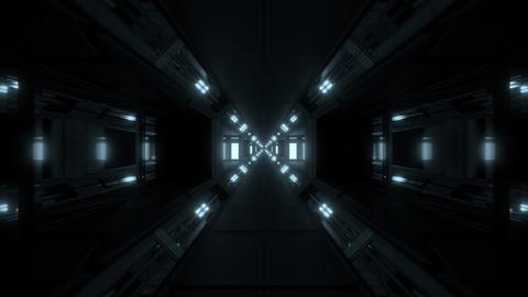futuristic glowing scifi space tunnel corridor 3d illustration background Animation