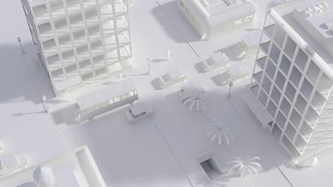 CGI City Life Miniature Outdoors with Housing Human and Active Logistics Live Action