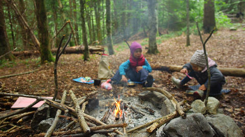 Childs near the campfire. Active Family Vacation Concept Footage