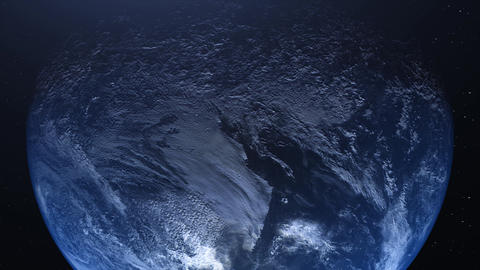 Realistic Planet Earth, world from space. Detailed home, rotating horizon with beautiful Animation