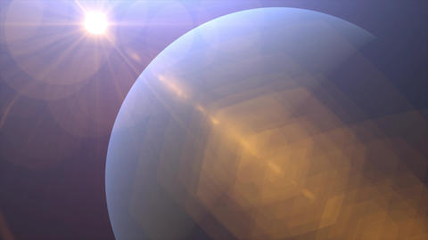 Solar Eclipse over Neptune Planet. Big, blue planet Neptune and rising sun over. Realistic High Animation