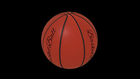 Basketball ball with the words basketball rotates loop on a transparent background, 4444 prores Animation