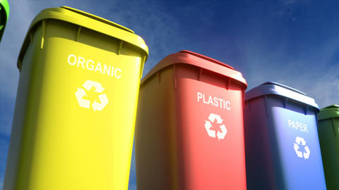 Multi-colored plastic garbage bins with waste type labels and recycle logos loop Animation