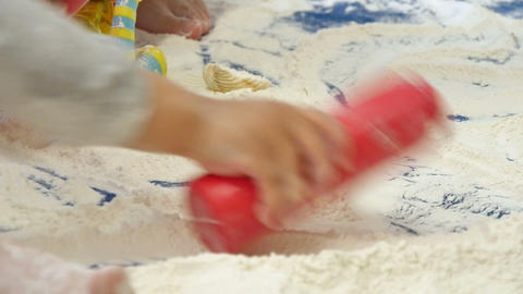 Babies Playing with White Flour in Kindergarten Childcare Footage
