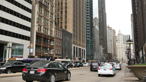 Michigan Ave in Downtown Chicago Traffic Live Action