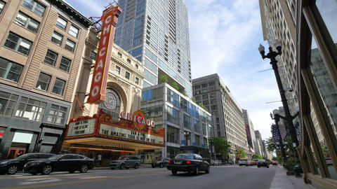 Chicago Theater at State Street in Loop District at Sunset Footage