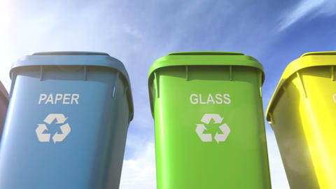 Multi colored garbage bins with waste type separation labels and recycle logos Animation