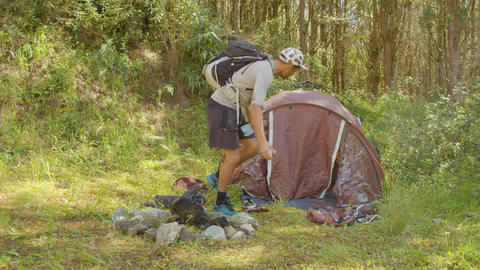 Environmentalist Backpacker Angry About The Trash Left By A Drunk Man Camping Live Action