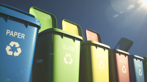 Multi-colored plastic waste bins with flaps open and close and waste type labels Animation